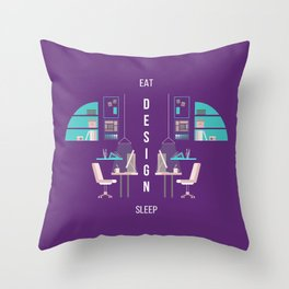 Eat Design Sleep  - Purple Throw Pillow