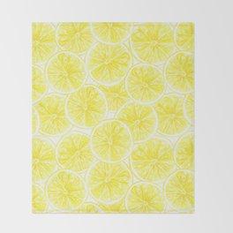 Lemon slices pattern watercolor Throw Blanket