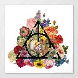 Floral Deathly Hallows Owl and Stag - Black Canvas Print