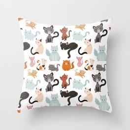 Cats Cat Kitten Texture Pattern LIKE PROMOTE Throw Pillow