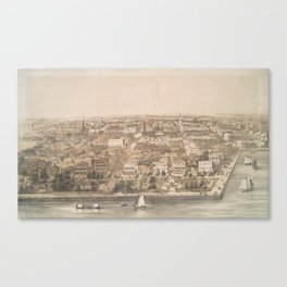Vintage Pictorial Map of Charleston SC (1851) Canvas Print