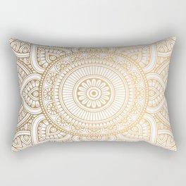 Gold Mandala Pattern Illustration With White Shimmer Rectangular Pillow