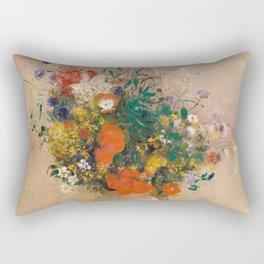 Odilon Redon - Vase of Flowers (1906) Rectangular Pillow