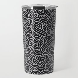 Black and faux silver swirls doodles Travel Mug