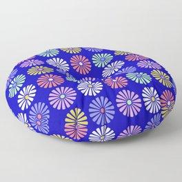 Pastel Flowers Pattern (On Blue) Floor Pillow