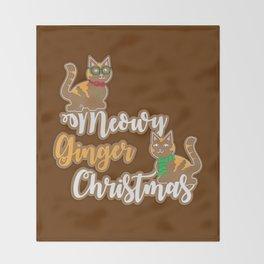Meowy Ginger Christmas Throw Blanket