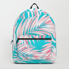 Palm Tree Fronds Hot Pink on Turquoise Hawaii Tropical Décor Backpack
