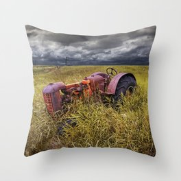 Abandoned Farm Tractor on the Prairie Throw Pillow