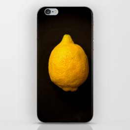Yellow Lemon On A Black Background #decor #society6 iPhone Skin