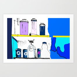 Jars in the cupboard Art Print