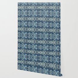 Vintage indigo inspired  flowers and lines Wallpaper