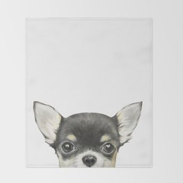Chihuahua mix color Dog illustration original painting print Throw Blanket
