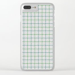 Abernathy, Blue Stone on Forest Green Tattersal Clear iPhone Case