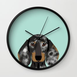 Doxie Dachshund merle dapple dog cute must have dog accessories dog gifts cute doxies dachshunds des Wall Clock