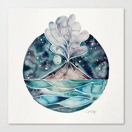 Stromboli Volcano at Midnight – Blue Palette Canvas Print