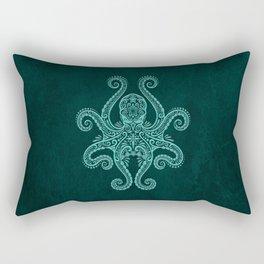 Intricate Teal Blue Octopus Rectangular Pillow