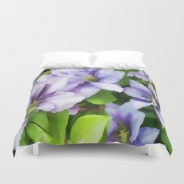 Delicate Climbing Clematis Duvet Cover