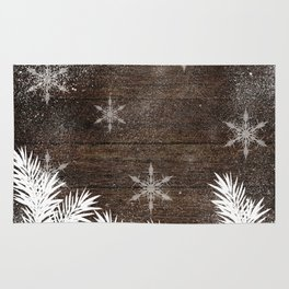 Winter white snow pine trees brown rustic wood Christmas Rug