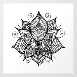 Black and White Evil Eye Lotus Art Print