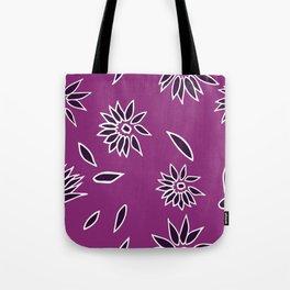 Dark Purple Falling Flora Pattern 2 Tote Bag