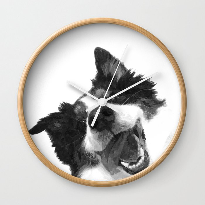 Perfect Black And White Happy Dog Wall Clock
