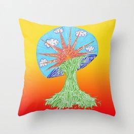 Sunrise Mushroom Throw Pillow
