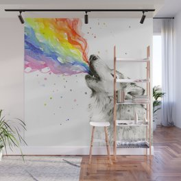 Wolf Rainbow Watercolor Howling Animal Whimsical Animals Wall Mural