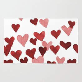 Valentine's Day Watercolor Hearts - red Rug