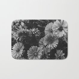 FLOWERS - FLORAL - BLACK AND WHITE Bath Mat