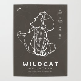 Wildcat Mountain - Ski Trail Map, New Hampshire Poster