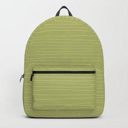 Horizontal White Stripes on Light Green Backpack