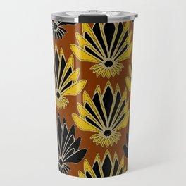 ART DECO YELLOW BLACK COFFEE BROWN AGAVE ABSTRACT Travel Mug