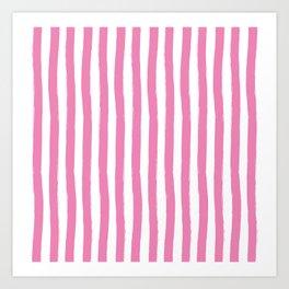 Pink and White Cabana Stripes Palm Beach Preppy Art Print