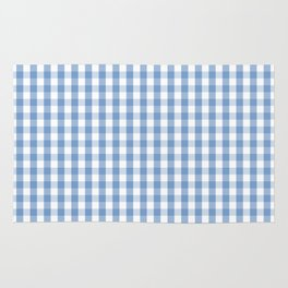 Classic Pale Blue Pastel Gingham Check Rug