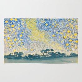 Henri-Edmond Cross Neo-Impressionism Pointillism Landscape with Stars Watercolor Painting Rug