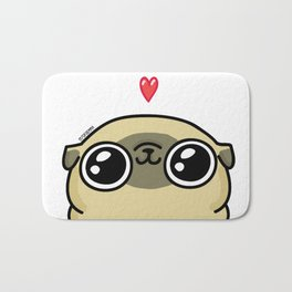 Mochi the pug loves you Bath Mat
