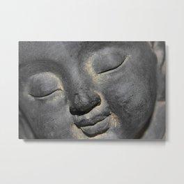 Gentle Buddha Face Stone Sculpture Metal Print