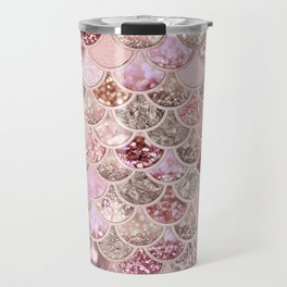 Rose Gold Blush Glitter Ombre Mermaid Scales Pattern Travel Mug