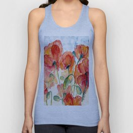 Tangerine Orange Poppy field WaterColor by CheyAnne Sexton Unisex Tank Top