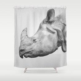 Rhino Art   Minimalism   Black and White Shower Curtain