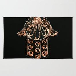 Golden Hamsa Hand On A Black Background #decor #society6 Rug
