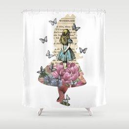 Alice In Wonderland Magical Garden - Vintage Book Shower Curtain