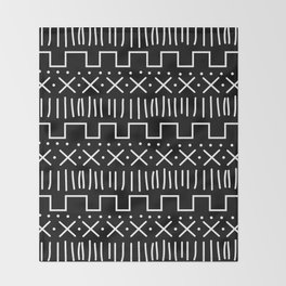 Black Mud Cloth Throw Blanket