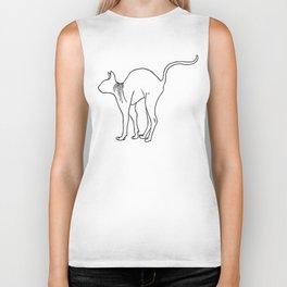 Sphynx Cat Arching Its Back - Naked Cat -  Simple Line - Minimal Biker Tank