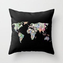 world currency map Throw Pillow