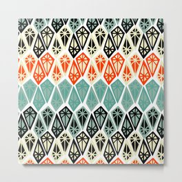 Abstract geometric hand painted red black teal diamond shapes Metal Print