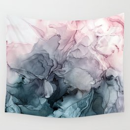 Blush and Payne's Grey Flowing Abstract Painting Wall Tapestry