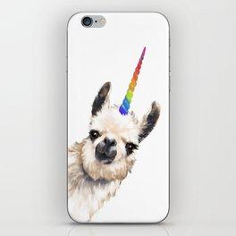 Sneaky Unicorn Llama White iPhone Skin