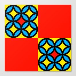 Colored Circles Red Squares Canvas Print