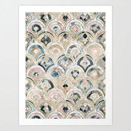 Art Deco Marble Tiles in Soft Pastels Art Print